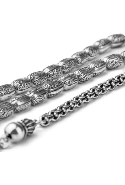 Anı Yüzük Erzurum Kakma El Işi Kapsül Kesim Gümüş Tesbih