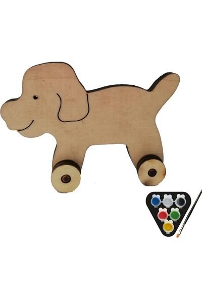 Usta Çocuk Ahşap Boyama Seti Tekerlekli Köpek