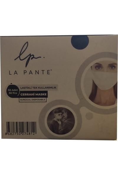 La Pante Lastikli Tek Kullanımlık 3 Katlı Telli Cerrahi Maske 50 Adet - 2 Kutu