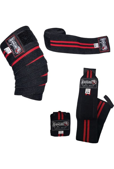 Dragon Halter Crossfit Fitness Vücut Geliştirme Diz Bandajı + El Bilek Sargısı 2'li Set (Wrist Knee Wraps)