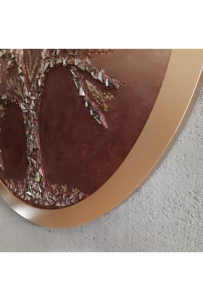 Atl Dekor Elvira Altın Yuvarlak Ayna Ağaç 90 cm