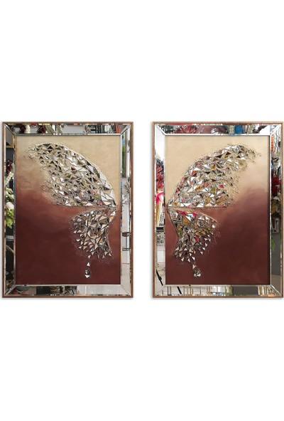 Atl Dekor Kelebek Altın Çift Kanat Mozaik Ayna 60 x 80 cm