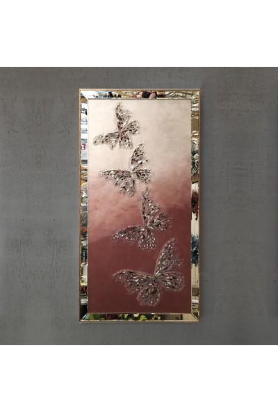 Atl Dekor Kelebek Altın Dörtlü Mozaik Ayna 80 x 155 cm