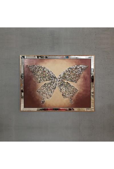 Atl Dekor Kelebek Altın Tekli Mozaik Ayna 100 x 130 cm