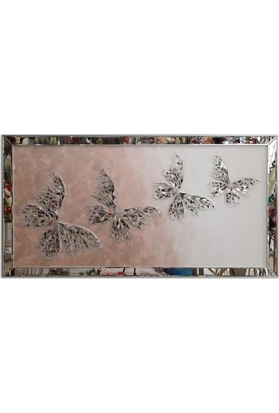 Atl Dekor Kelebek Pudra Dörtlü Mozaik Ayna 80 x 155 cm