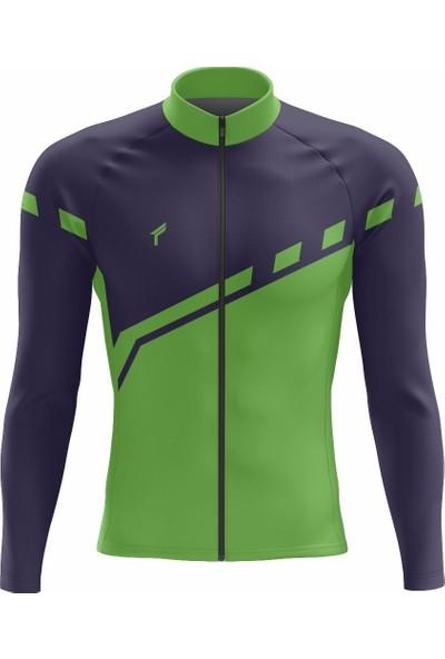 Freysport Lane-03 Bisiklet Forması Uzun Kol - Lacivert Yeşil