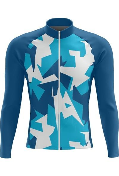 Freysport Ruscham-07 Bisiklet Forması Uzun Kol - Mavi Beyaz