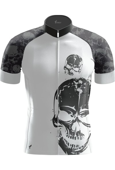 Freysport Skull-10 Bisiklet Forması Kısa Kol - Siyah, Beyaz