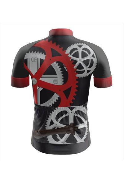Freysport Crank-08 Bisiklet Forması Kısa Kol - Siyah, Kırmızı