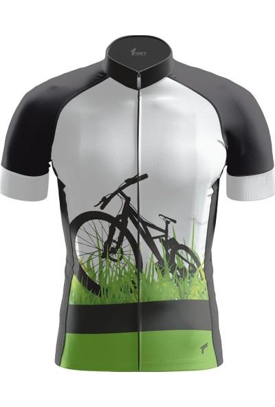 Freysport Grass-09 Bisiklet Forması Kısa Kol - Siyah, Yeşil, Beyaz