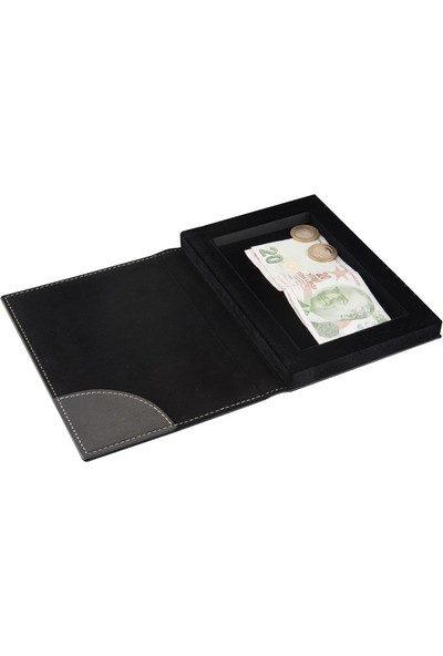 2K Suni Deri Hesap Kutusu 14 x 20 cm Siyah