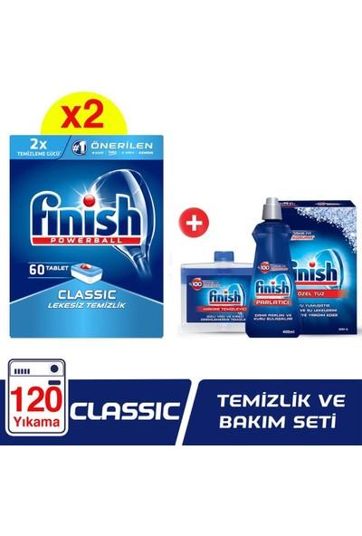 Finish Bulaşık Makinesi Deterjanı Klasik Tablet 120 60 x 2 + Temizlik ve Bakım Seti