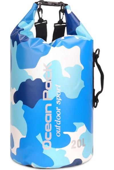 Yukka Su Geçirmez Oem Açık Yüzen 20L Kamuflaj Pvc Kuru Çuval Sırt Çantası Su Geçirmez Kuru Çanta