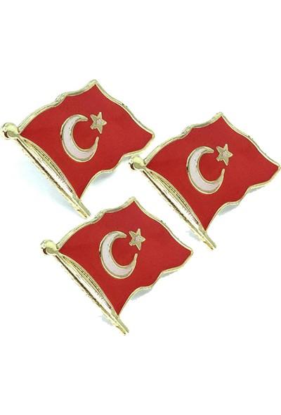 Dünya Türk Bayrağı Rozet Büyük x 3 Adet
