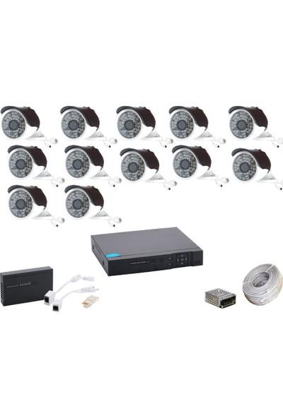 Promise 12 Kameralı Güvenlik Sistemi 4 Mp 48 LED Metal Kasa Ip Kamera Set