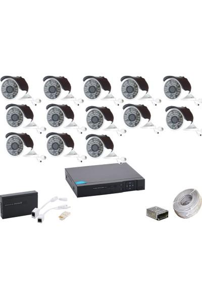 Promise 13 Kameralı Güvenlik Sistemi 4 Mp 48 LED Metal Kasa Ip Kamera Set