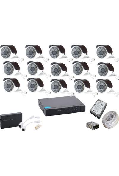 Promise 15 Kameralı Güvenlik Sistemi 4 Mp 48 LED Metal Kasa Harddisk Dahil