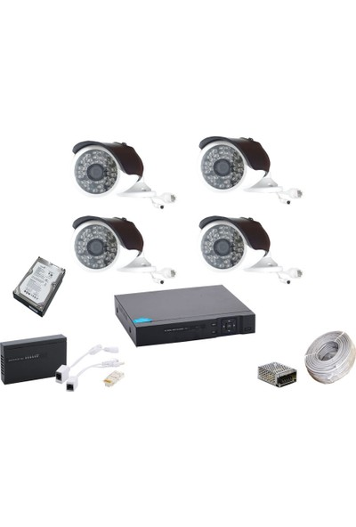 Promise 4 Kameralı Güvenlik Sistemi 4 Mp 48 LED Metal Kasa Harddisk Dahil