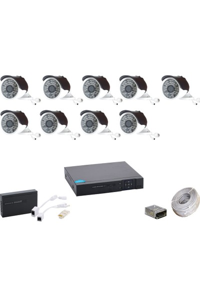 Promise 9 Kameralı Güvenlik Sistemi 4 Mp 48 LED Metal Kasa Ip Kamera Set