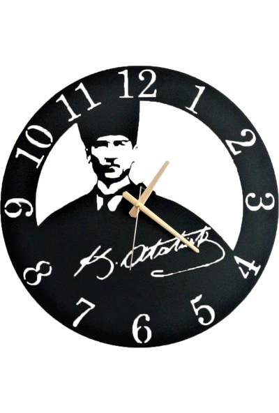 H&K Dekoratif Lazer Kesim Metal Duvar Saati Atatürk