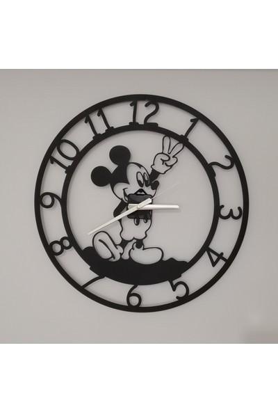 H&K Dekoratif Lazer Kesim Metal Duvar Saati Mickey Mouse