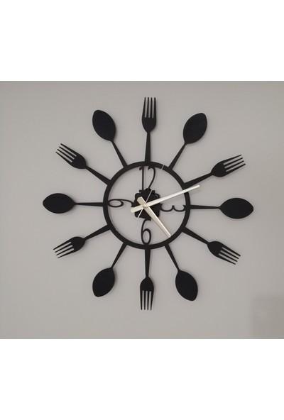 H&K Dekoratif Lazer Kesim Metal Duvar Saati Cutlery