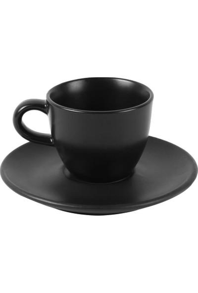 Güral Porselen Mat Siyah Türk Kahvesi Fincanı Tabaklı 80CC 6 Adet