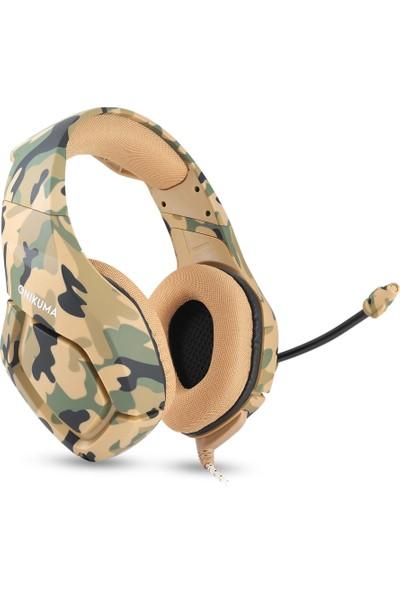 Ouni Kulaküstü Kulaklık Camo Bilgisayar Oyun Stereo Surround Kablolu Kulaklık (Yurt Dışından)