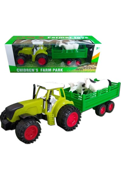 Birlik Oyuncak Traktör Oyuncak Römork Içinde Hayvanlar