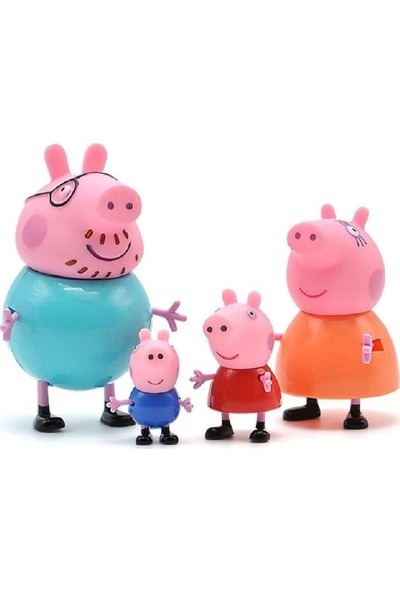 Peppa Pig Aile Seti Sevimli Figür Oyuncak 4'lü
