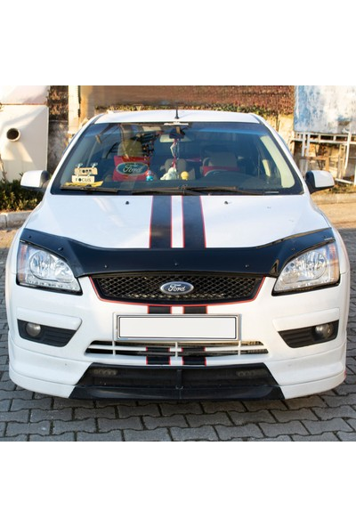 Ford Focus Ön Kaput Koruyucu Rüzgarlık Deflektör Akrilik ABS 4mm Parlak Siyah 2005-2008
