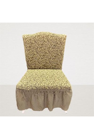 Arkur Home Jakar Likralı Etekli Sandalye Kılıfı - 6 Adet - Bej