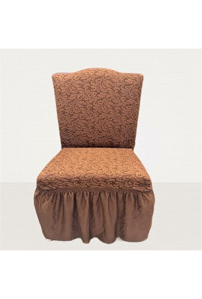 Arkur Home Jakar Likralı Etekli Sandalye Kılıfı - 6 Adet - Sütlü Kahverengi