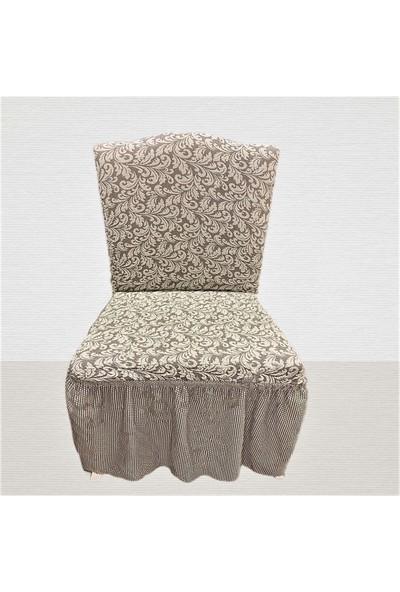 Arkur Home Jakar Likralı Etekli Sandalye Kılıfı - 6 Adet - Krem