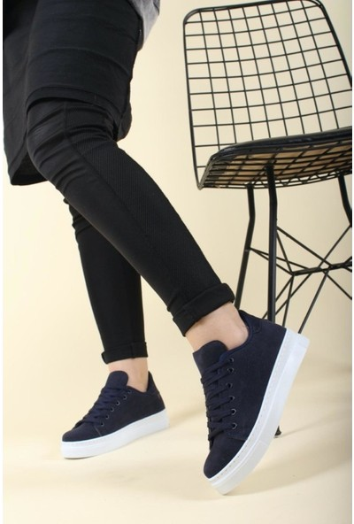 Walking Lacivert Günlük Süet Kadın Sneaker