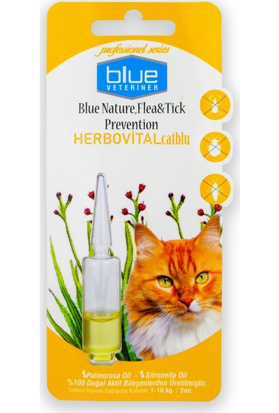 Blue Veteriner Kediler Için Bitkisel Ense Damlası 2ml