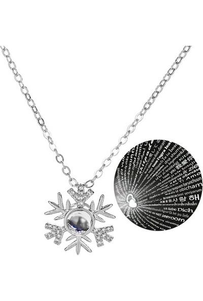 Gümüş Marketi 925 100 Dilde Seni Seviyorum Kar Tanesi Gümüş Bayan Kolye