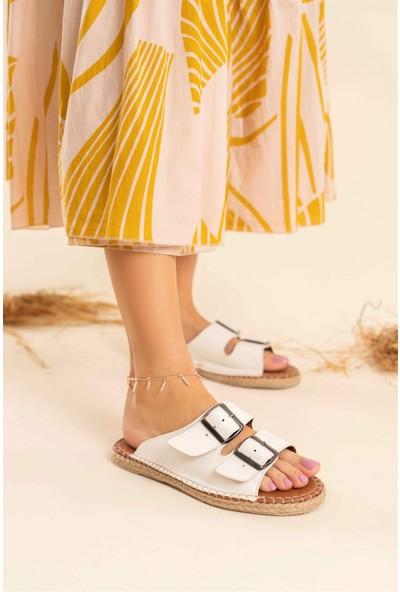 Nişantaşı Shoes Yazlık Çift Tokalı Yeni Sezon Dikiş Detaylı Beyaz Kadın Terlik