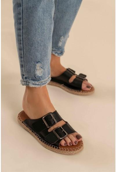 Nişantaşı Shoes Yazlık Çift Tokalı Yeni Sezon Dikiş Detaylı Siyah Kadın Terlik