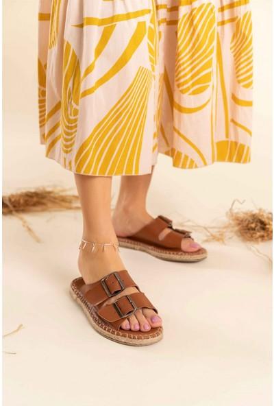Nişantaşı Shoes Yazlık Çift Tokalı Yeni Sezon Dikiş Detaylı Taba Kadın Terlik
