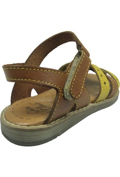 Cici Bebe AyakkabıPatik Kız Sandalet 746 Bilekten Cirtli Deri
