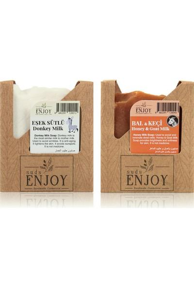 Suds Enjoy Doğal Eşek Sütlü - Bal Keçi Sütlü El Yapımı Yüz, Saç ve Vücut Sabunu (Ikili Paket)
