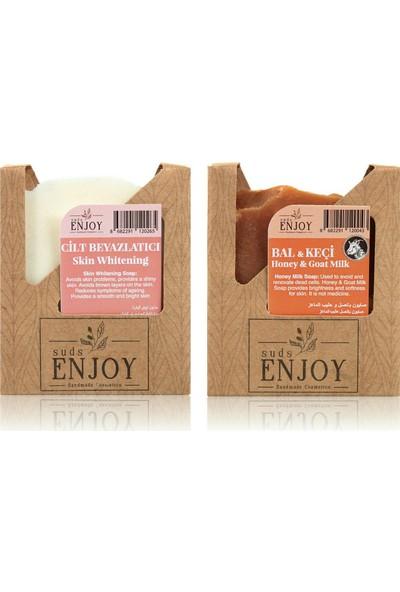 Suds Enjoy Doğal Cilt Beyazlatıcı - Bal Keçi Sütlü El Yapımı Yüz, Saç ve Vücut Sabunu (Ikili Paket)