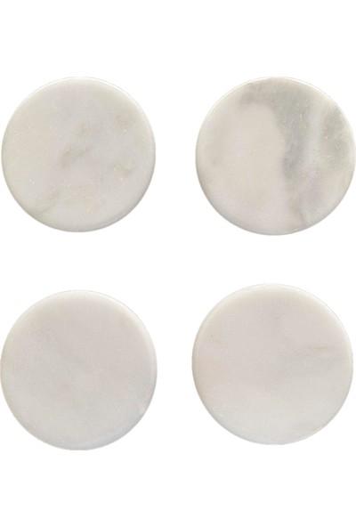 Rey Home Dekoratif Doğal Mermer Yuvarlak Bardak Altlığı Beyaz 4'lü Set 10 cm