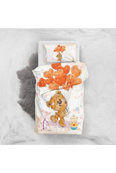 MonoHome Tatlı Ayı 3D Pamuk Saten Bebek Nevresim Takımı