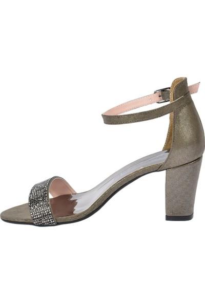 Ayakland 446-10 Taşlı 7 cm Topuk Kadın Sandalet