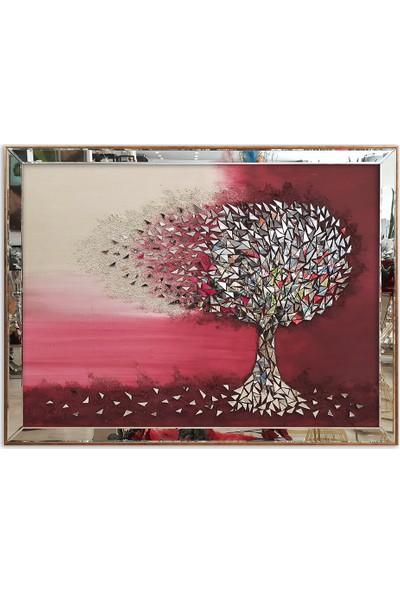 Atl Dekor Luna Bordo Mozaik Ayna Ağaç 100x130 cm