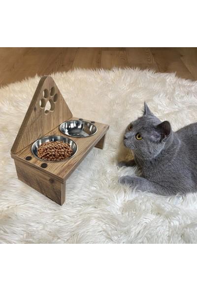Odun Concept 2'li Kedi Mama Kabı - Pati - Ahşap Desenli