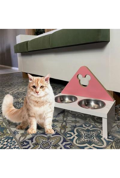 Odun Concept Kedi ve Küçük Irk Köpek Mama ve Su Kabı - Paslanmaz Çelik Kaseli - Pink Minnie Mouse