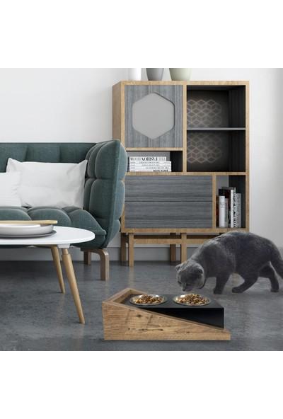Odun Concept Ahşap Kedi Mama ve Su Kabı - Ramp